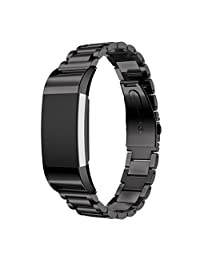 ABC Luxury Genuine Stainless Steel Bracelet Strap Smart Watch Band for Fitbit Charge 2 (Black)