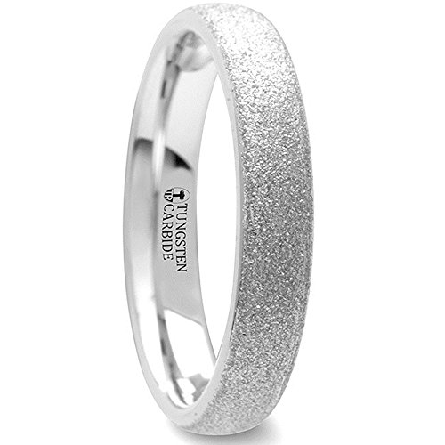 QUARTZ Domed Tungsten Carbide Ring with Sandblasted Crystalline Finish Comfort Fit Lightweight Durable Wedding Band - 4mm by Thorsten Rings by Thorsten Rings