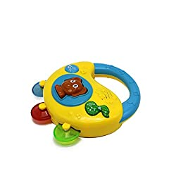 Ver-Baby Childrens Kids Musical Instument Toy Tambourine Shake & Rattle Sounds & Songs with Flashing Lightups
