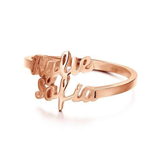 Personalized Double Rings - PEIMKO Engagement Ring Promise Ring for Her Sterling Silver/Rose Gold Plated Engraving Customized & Personalized Ring with Double Names/2 Names Size 5-12.5
