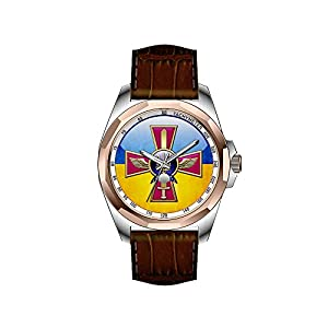 AIMS Christmas gift Mens gold Personalized Unique Fashion Design Waterproof Wrist Watch Ukrainian Air Force Emblem Watches