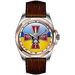AIMS Christmas gift Mens gold Personalized Unique Fashion Design Waterproof Wrist Watch Ukrainian Air Force Emblem Watches