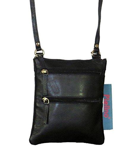 Pielino Genuine Leather Mini Crossbody Handbag 131 (Black) (Leather Lined Mini Bag)
