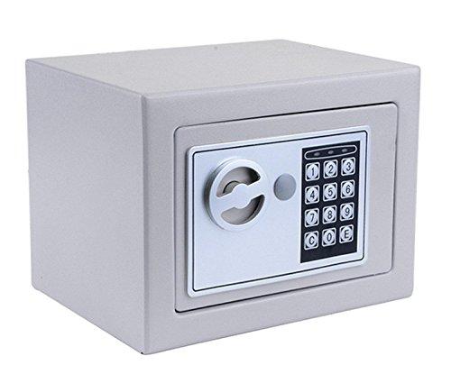 Digital Electronic Safe Deposit Box Home Safe Key Lock Box, Jewelry Cash Money Safe Security Box with batteries (Grey)