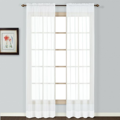 United Curtain Batiste Semi-Sheer Window Curtain Panel, 54 by 72-Inch, White