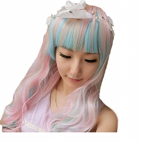 [POJ Lolita Cosplay Long Hair Wig Harajuku Japan Fashion [ Pinkblue ]] (Disney Group Costumes Ideas)