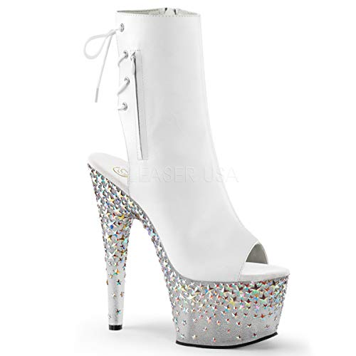 Pleaser STPLASH1018-7/WPU/FT Women's Boot, White Faux Leather/Frost Silver Hologram Stars, 10 M US ()