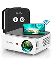 YABER V6 WiFi Bluetooth Projector 7500 Lux Full HD Native 1920×1080P Projector, 4P/4D Keystone Support 4k&Zoom, Portable Wireless LCD LED Home&Outdoor Video Projector for iOS/Android/PS4/PPT (White)