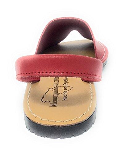 de Cómodas Tipo para Menorquinas Sandalias 39 Piel Mujer Rojo Muy 6dwnpq