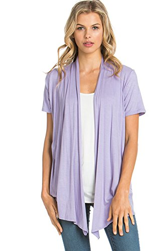 12 Ami Basic Solid Short Sleeve Open Front Cardigan Lilac Extra Large