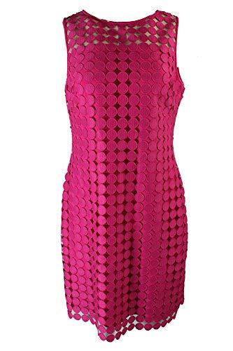 (LAUREN RALPH LAUREN Womens Geometric Lace Overlay Cocktail Dress Pink 6)