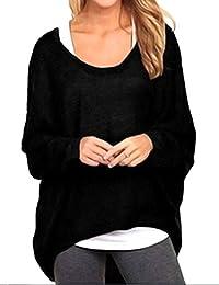 Shinekoo Women's Sexy Casual Loose Long Sleeve Baggy Long Tops Blouse T-Shirt