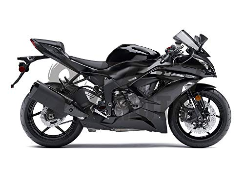 (9FastMoto Motorcycle Decals Sticker for kawasaki 2013 2014 2015 2016 ZX6R ZX-6R Ninja 636 Motorbike Racing Fairing Decal (Black & Silver))