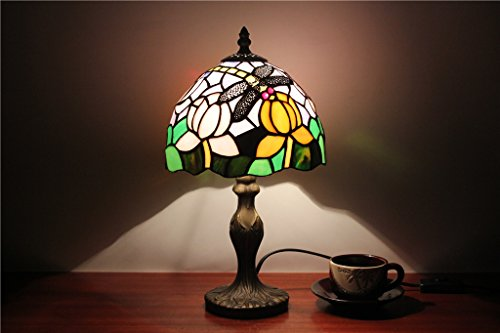8-inch European-Style Garden Small Table lamp Bedroom Bedside lamp Table lamp bar Window Glass lamp Tiffany Dragonfly lamp ()