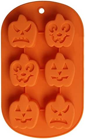 BCP Halloween decor Pumpkin Face Ice Cube Shapes Silicone Jelly Chocolate Bread Soap Baking Cake handmade Mold 8 x 4 Inch