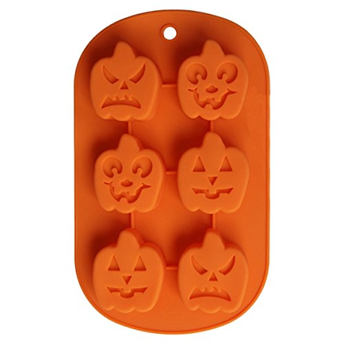 Pumpkin Cake Mold (BCP Halloween decor Pumpkin Face Ice Cube Shapes Silicone Jelly Chocolate Bread Soap Baking Cake handmade Mold 8 x 4 Inch)