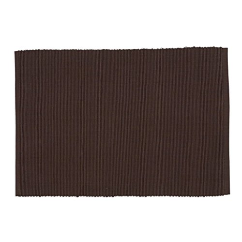 DII Washable Ribbed Cotton Placemat, Set of 6, Truffle Brown - Perfect for Fall, Dinner Parties, BBQs, Christmas, Weddings and Everyday Use ()
