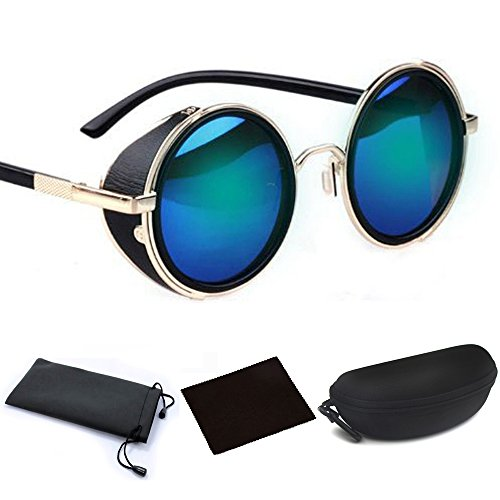 Classic Design Retro Vintage Round Circle Mirror Lens Sunglasses Steampunk Cyber Goggles Binders with Black Hard Case (Golden Metal Frame & Blue Reflection Lens, One Size fit - Glasses With Side Blinders