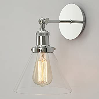 Industrial Style Glass Wall Lights : NEW Modern Industrial Vintage Style Chrome Wall Lamp Retro Wall Light: Amazon.co.uk: Lighting
