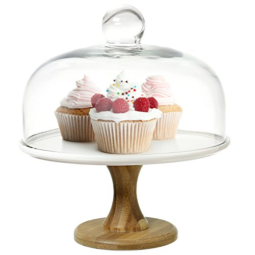 8 Inch Round Wood & White Ceramic Pedestal Dessert Cake Stand, Serving Platter with Clear Glass Dome Lid (Cake Dome Stand With Marble)