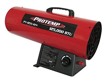 Pro-Temp PT-125V-GFA 125,000 BTU Propane Forced Air Heater, Variable Output, Red Black