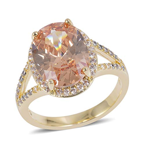Shop LC Delivering Joy Goldtone Champagne White Cubic Zirconia CZ Statement Ring for Women Jewelry Cttw ()