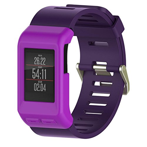 (VESNIBA Silicon Slim Smart Watch Case Cover For Garmin Vivoactive HR Smartwatch GPS (Purple))