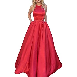 Women's Halter A-line Beaded Satin Evening Prom Dress Long Formal Gown with Pockets