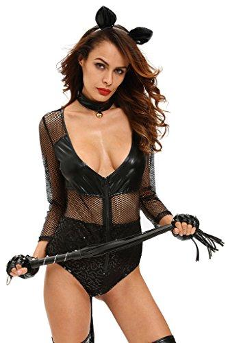 [Eternatastic Womens Halloween Catsuit Costume Bodysuit With Headwear Gloves L Black] (Female Bodysuit Costumes)