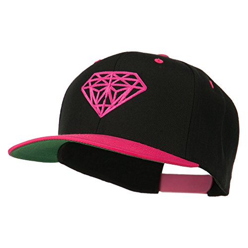 Diamond Embroidered Snapback Two Tone Cap – Black Pink OSFM