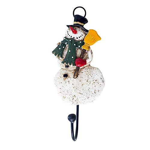 MiniPoco Self Adhesive Christmas Santa Creative Wall Decoration Hooks Kitchen Bedroom Resin Decoration Holder Hook Hanger (Snowman)