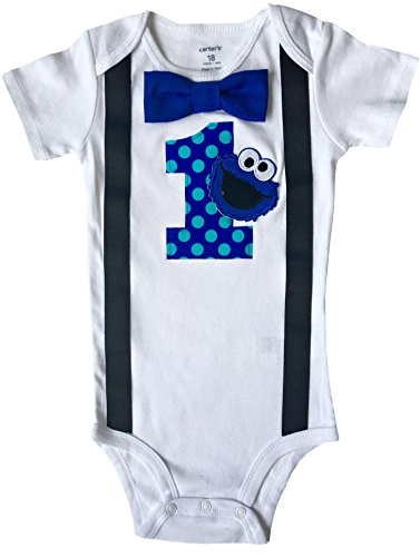 Baby Boys 1st Birthday Outfit Cookie Monster Bodysuit, Blue-aqua-black, 12M-Short Sleeve