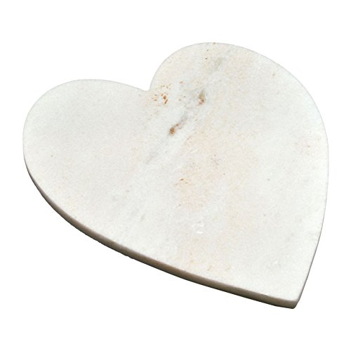 Argon Tableware Heart Shaped Marble Kitchen Chopping Board - 23 x 27 cm - White