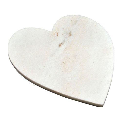 Argon Tableware Heart Shaped Marble Kitchen Chopping Board - 23 x 27 cm - White