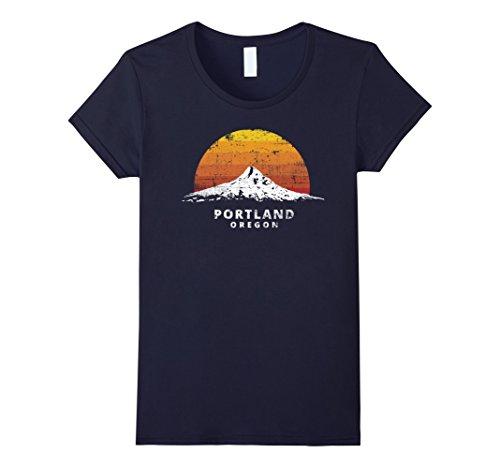 Womens Portland Oregon Mt. Hood Sunset T-Shirt - Distressed Variant Large Navy