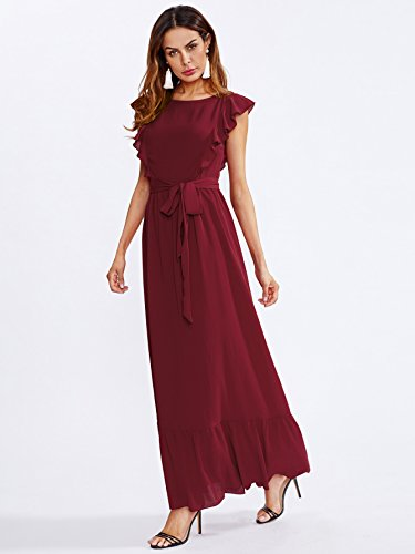 Elegant Women's Shoulder Frill Milumia Sleeve Maxi Dress Knot Hem Self and Burgundy Belted Butterfly d5qIxxtAw