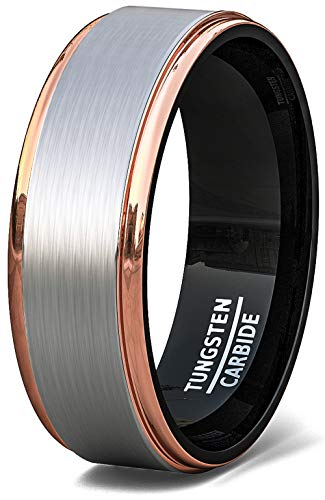 - Duke Collections 8mm Tri Color Tungsten Ring Rose Gold Black Brushed Surface Step Edge Comfort Fit (9.5)