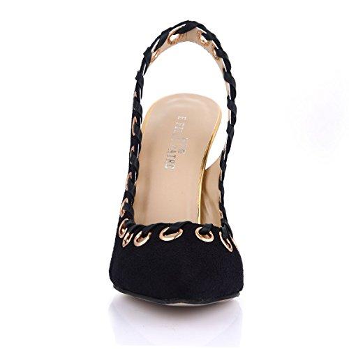 SM00004 Flocking Slingback Shoes High Court Heel Fleece Dolphin Pumps 12CM Stilettos Women Dress Sandals Black Black Lady HrpHSxZq