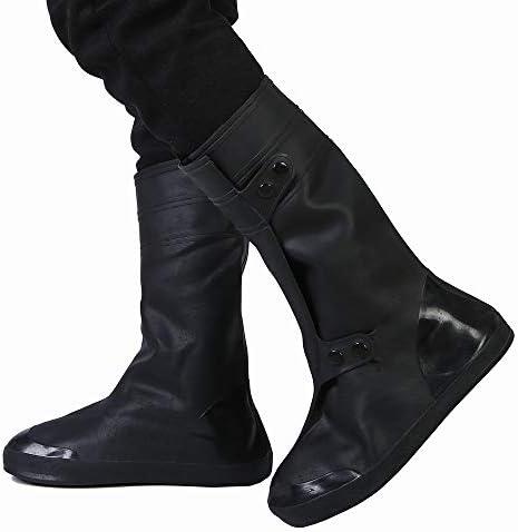 シューズカバー 防雨靴カバー男性と女性雨の日厚い防水滑りやすい摩耗ボトムスノーカバーアダルトハイチューブ (色 : ブラック, サイズ : XXXXL)