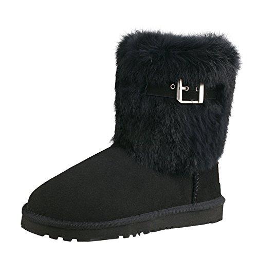 Shenduo Black Boots Calf Women's Mid Snow Boots D13030 0cwr0aXqW