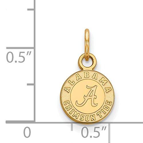 10k Yellow Gold University of Alabama Crimson Tide School Logo Disc Pendant 10x9mm