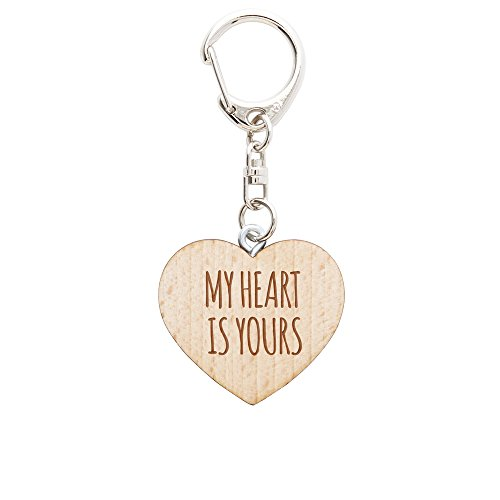 Wooden Key chain – Heart with Engraving – My Heart Is Yours – Key Ring for Couples – Valentine's Day Gift – Key Tag - Heart Pendant with Quote