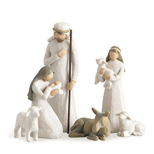 Willow Tree Nativity, sculpted hand-painted nativity figures, 6-piece set (Angel Simple Tree Topper)