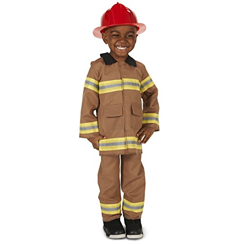 Fire Fighter Tan Adult Costumes (Tan Firefighter with Helmet Toddler Dress Up Costume 2-4T)