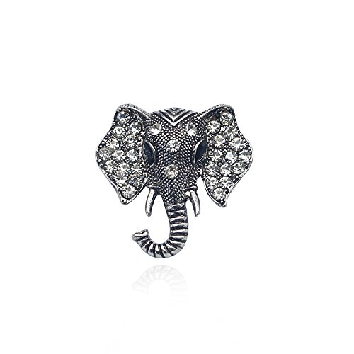Dwcly Silver Gold Tone Clear Crystal Colored Rhinestones Matte Elephant Crown Brooch Pin (Silver)