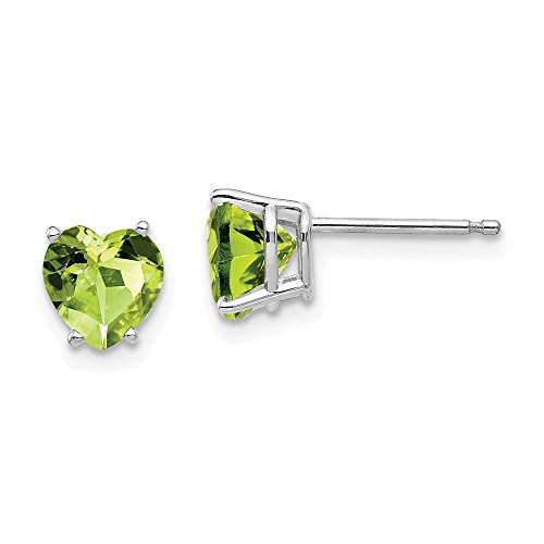 14k White Gold 6mm Heart Green Peridot Post Stud Earrings Love Fine Jewelry Gifts For Women For Her