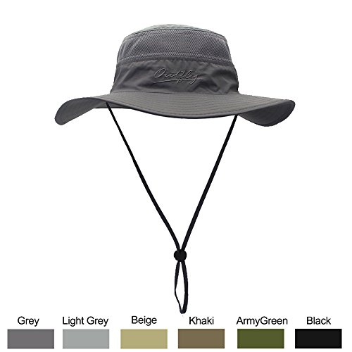 WELKOOM Sun Hat for Men & Women, Wide Brim UPF 50+ UV Protection Beach Cap, Breathable Outdoor Boonie Hats with Adjustable Drawstring Design, Perfect for Hiking, Fishing, Camping, Boating& Safari
