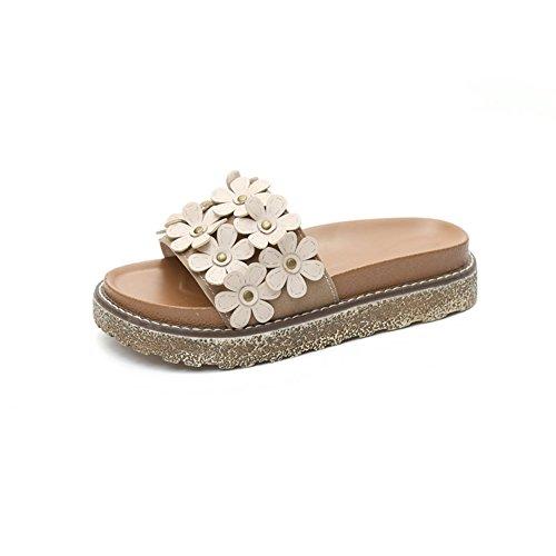 Btrada Mujeres Flats Sandals-summer Thick Bottom Open Toe Platform Diapositivas De Flores Beige