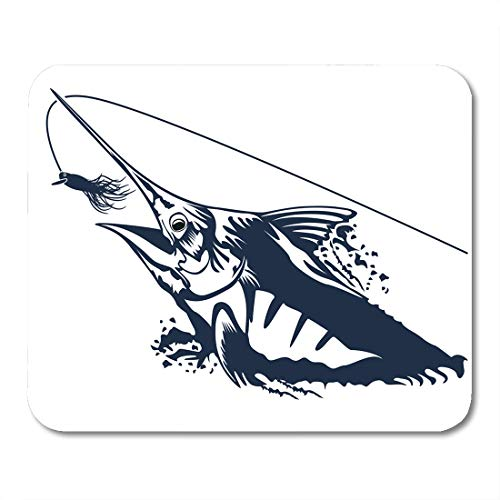 "Price comparison product image Emvency Mouse Pads Marline Fish in Waves Fishing Rod on Retro Blue Mouse Pad for notebooks, Desktop Computers mats 9.5"" x 7.9"" Office Supplies"