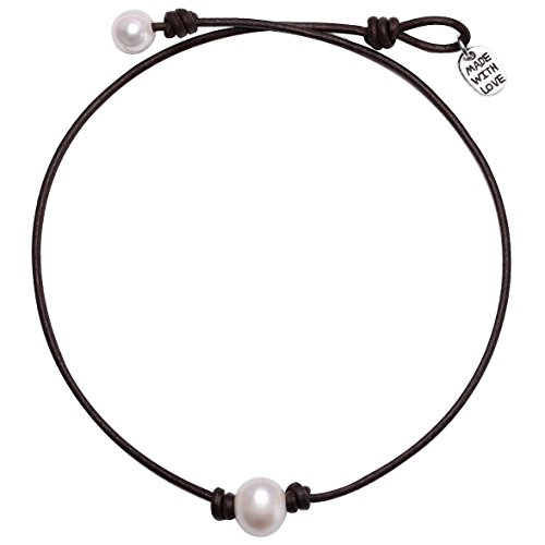 Single Cultured Freshwater Pearl Choker Necklace Handmade Genuine Leather One Bead Jewelry for Women Girls 16'' Dark Brown (Nice White Pearl Necklace)